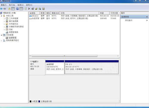 可以到磁碟管理確認硬碟的辨識狀態