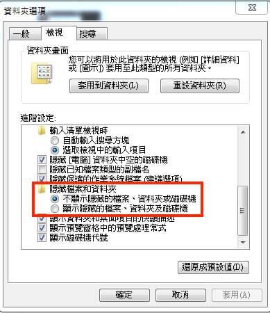 進到資料夾選項後勾選顯示隱藏的檔案